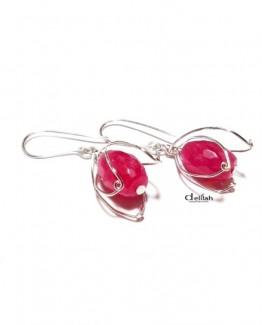 floral fuchsia earrings