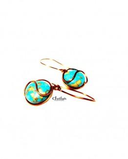 Turquoise earrings, wire wrap earringsgemstone earrings, gemstone jewelry, mother's day, gift earrings, gift jewelry, turquoise