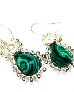 Malachite Teardrops Earrings, Wire Wrapped Earrings, Dangle Earrings, Silver-Grey Earrings