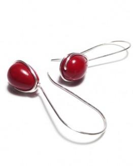 Mallorca Teardrop Earrings Wire Wrap Mallorca Earrings Minimalist Red Earrings Red Wire Wrap Earrings Teardrop Earrings Pearl Earrings