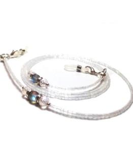 White Beaded Eyeglasses Chain White Eyeglasses Lanyard Beaded Eyeglasses Holder Glass Beaded Chain Reading Glasses Eyewear White Lanyard