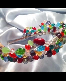 Colorful Crystal Wedding Tiara Crystal Wedding Crown Bridal Crystal Tiara Colorful Crystal Hair Accessory Crystal Headpiece
