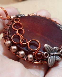Wire Wrap Copper Pendant Bubbles and Butterflies Pendant Carnelian Pendant Gemstone Pendant Copper Butterflies Woven Copper Jewelry Pendant