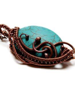 Wire Wrap Turquoise and Copper Pendant Wire Wrap Copper Jewelry Blue Stone Pendant Unique Jewelry Pendant Oval Turquoise Pendant Jewelry