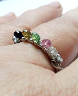 Wire Wrap Tourmaline Sterling Silver Ring Gemstone Sterling Silver Ring 925 Silver Ring with Tourmaline Multicolored Tourmaline Silver Ring
