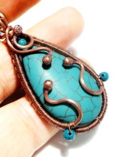 Wire Wrap Turquoise Pendant Copper Wire Drop Pendant Copper Wire Jewelry Copper Turquoise Necklace Turquoise Jewelry Wire Copper Jewelry
