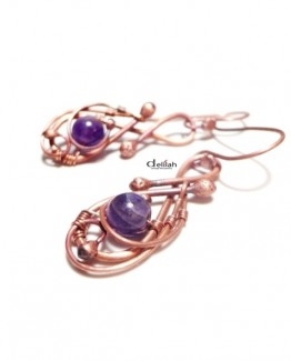 amethyst copper earrings