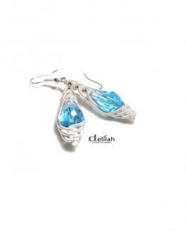 blue herringbone earrings