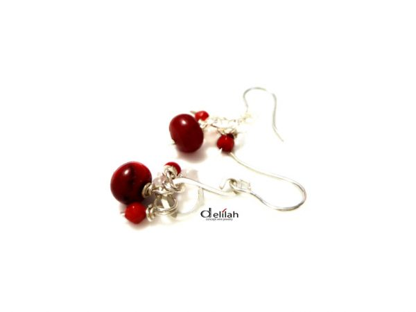 Sterling Silver Coral Earrings Red Coral Earrings Silver Wire Earrings Gemstone Earrings Rose Quartz Earrings Gemstone Jewelry Mother's Day