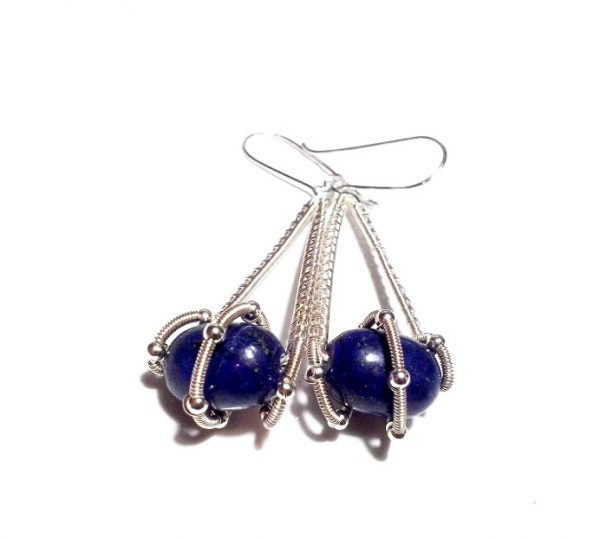 Twisted Lapis Earrings, Wire Wrapped Lapis Earrings, Lapis Lazuli Earrings, Wired Earrings, Navy Blue Earrings