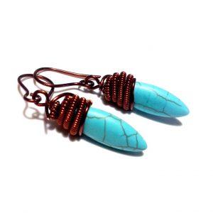 Copper Drop Earrings, Turquoise Earrings,Wire Wrap Earrings, Wirework, Wired Copper Earrings