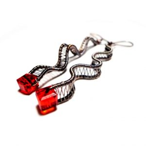 Red Crystals Oxidized Earrings, Woven Earrings Wire Wrap Red Earrings Red Crystal Earrings Oxidized Earrings Oxidized Earrings Jewelry
