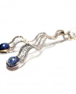 Navy Blue Oxidized Lapis Lazuli Woven Earrings Wire Wrap Lapis Lazuli Earrings Antique Lapis Lazuli Earrings Woven Wire Wrap Earrings