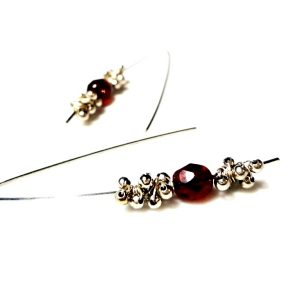 Red Crystal Earrings Wire Wrap Minimalist Red Earrings Wire Wrapped Steel Earrings Wirework Beads Bohemain Crystals Burgundy Square Section