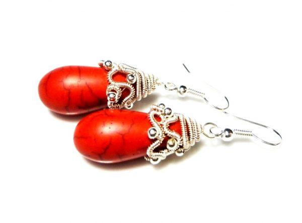 Red Teardrop Earrings, Wire Wrapped Earrings, Red Howlite Earrings, Teardrop Earrings