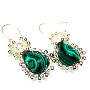 Malachite Teardrops Earrings, Wire Wrapped Earrings, Dangle Earrings, Silver-Grey Earrings
