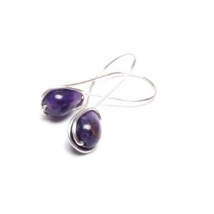 Amethsyt Wire Wrap Drop Earrings Mauve Amethyst Earrings Oversized Ear Wire Earrings Gemstone Earrings Amethyst Jewelry Gemstone Jewelry
