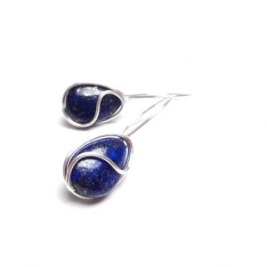 Navy Blue Lapis Lazuli Earrings Wire Wrap Lapis Earrings Blue Gemstone Earrings Gemstone Jewelry Stone Earrings Lapis Lazuli Drop Earrings
