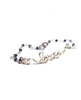 Love Handwriting Silver Bracelet Words of Love Bracelet Love Words Bracelet Sterling Silver Sapphire Bracelet Handmade Silver Chain Bracelet