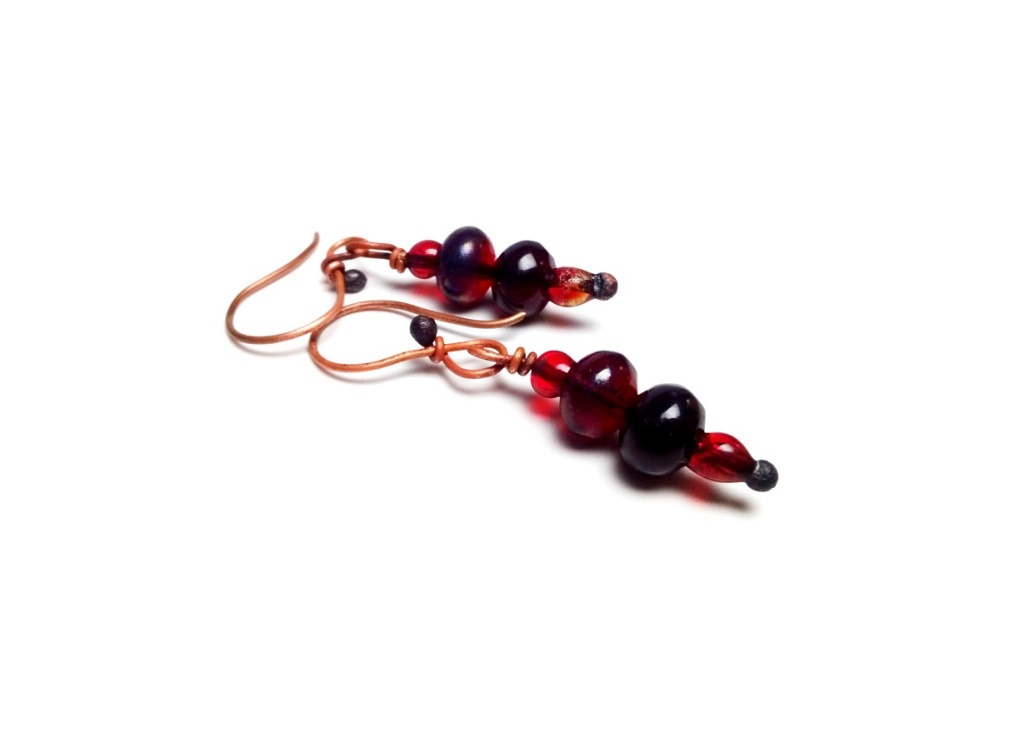 Copper Earrings with Red Fused Glass Beads Beach Glass Earrings Melt Glass Beads Earrings Red Glass Earrings with Copper Wire Summer Jewelry