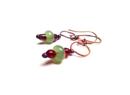 Copper Fused Glass Earrings Green Fused Glass Earrings Green Glass Copper Earrings Fused Glass Jewelry Handmade Glass Copper Earrings