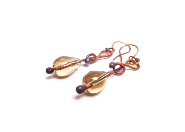 Golden Yellow Glass Earrings Copper Yellow Earrings Melt Glass Earrings Summer Fashion Earrings Summer Trend Earrings Copper Gift Earrings