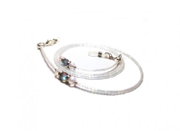 White Beaded Eyeglasses Chain White Eyeglasses Lanyard Beaded Eyeglasses Holder Glass Beaded Chain Reading Glasses Eyewear White Lanyard