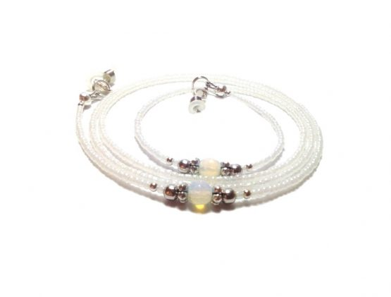 Moonstone Eyeglasses Chain Moonstone Eyeglasses Lanyard Moonstone Eyewear White Beaded Eyeglasses Holder Moonstone Eyeglasses Accessory