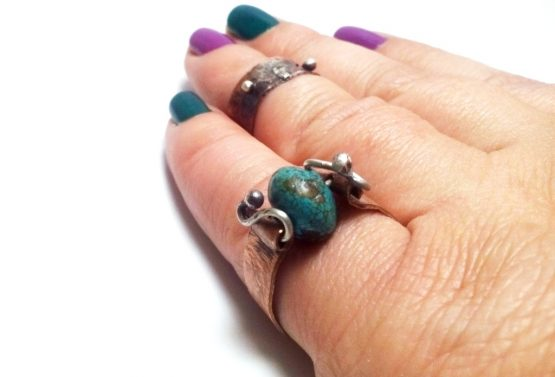 Hammered Turquoise Copper Band Ring 925 Silver Wire Band Ring Silver and Copper Ring Statement Copper and Silver Ring Gemstone Copper Ring