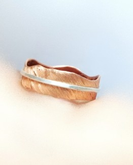 Statement 925 Silver and Copper Band Ring Silver Wire and Handmade Cut Copper Band OOAK Copper Band Ring Copper Band Jewelries Summer Trend