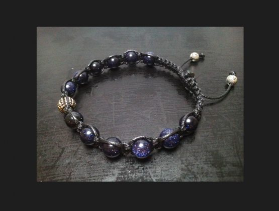 Men's Bracelet with Blue Goldstone Black Shamballa Bracelet for Men Men's Black Blue Bracelet Beaded Wrap Bracelet Gemstone Men's Bracelet