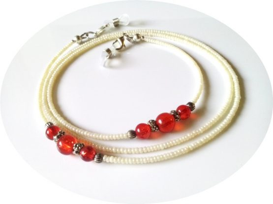 Red and Beige Eyeglasses Chain Butter Beige Eyeglasses Lanyard Eyeglasses Holders Beige Eyewear Reading Glasses Chain Red Eyeglasses Lanyard