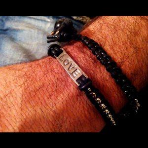 Love Message Men's Leather Bracelet Black Leather Wrap Bracelet for Men Braided Leather Bracelet Gift for Him Men's Wrist Bracelet for Men