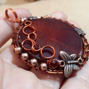Wire Wrap Copper Pendant Bubbles and Butterflies Pendant Carnelian Pendant Gemstone Pendant Copper Butterflies Woven Copper Jewelry Pendant