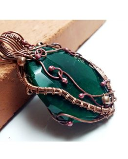 Wire Wrap Green Agate Copper Pendant Oversized Agate Pendant Green Gemstone Pendant Copper Jewelry Pendant Wire Wrapping Copper Jewelry