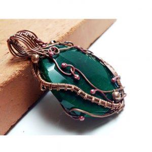Wire Wrap Green Agate Copper Pendant Oversized Agate Pendant Green Gemstone Pendant Copper Jewelry Pendant Wire Wrapping Copper Jewelry