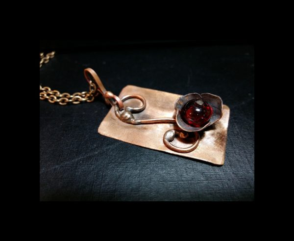 Red Flower Copper Pendant Soldered Copper Flower Pendant Copper Jewelry Pendant Copper Necklace Floral Pendant Copper Flower Necklace