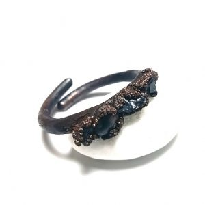 Inel oxidat din cupru si black onyx