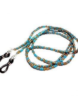 Snur sau lant pentru ochelari turcoz si auriu