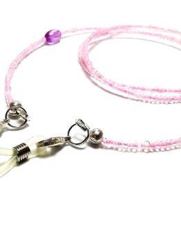 Lantisor pentru ochelari cu margelute roz