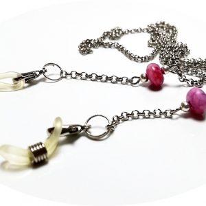 Lantisor pentru ochelari cu agata roz