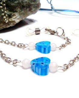 Lantisor ochelari pentru copii inimioare albastre