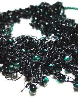 Colier crosetat Black and Dark Green