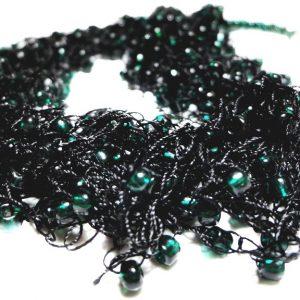 Colier crosetat Black and Dark Green