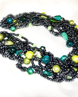 Statement Necklace Grey and Green