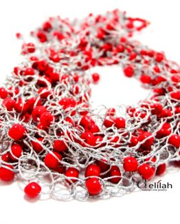 """Colier """"Red  Silver"""""""