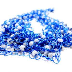 Colier din matase albastra si margele bleu