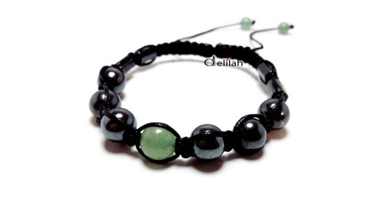 Bratara unisex cu hematit si jad verde